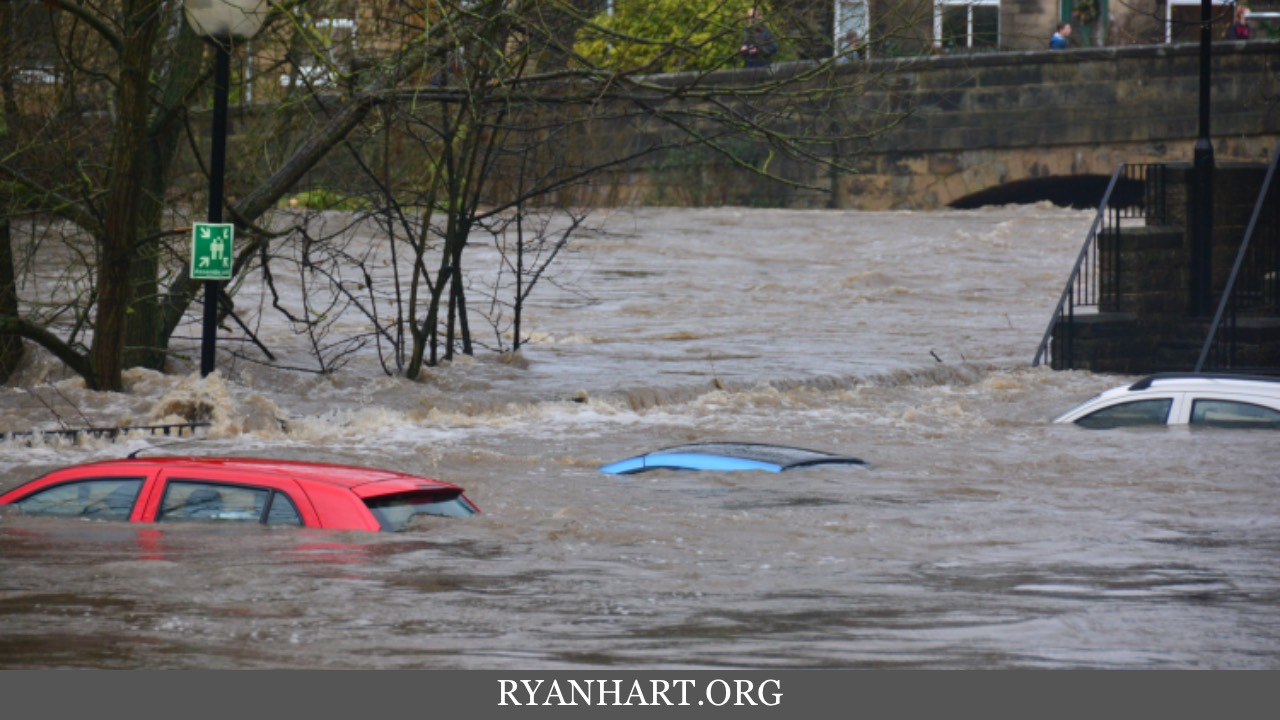 Cars in flooding water