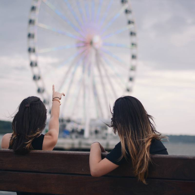 Women Looking at Ferris Wheel